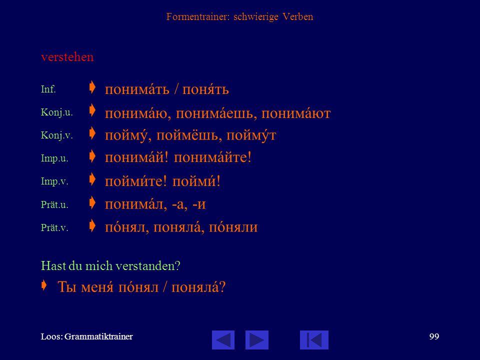 Loos: Grammatiktrainer98 Formentrainer: schwierige Verben beglückwünschen, gratulieren Inf.