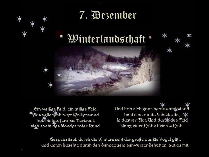 7.Dezember Winterlandschaft Ein weißes Feld, ein stilles Feld.