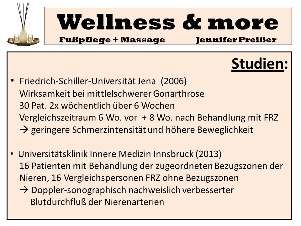 Studien: Friedrich-Schiller-Universität Jena (2006) Wirksamkeit bei mittlelschwerer Gonarthrose 30 Pat. 2x wöchentlich über 6 Wochen Vergleichszeitrau