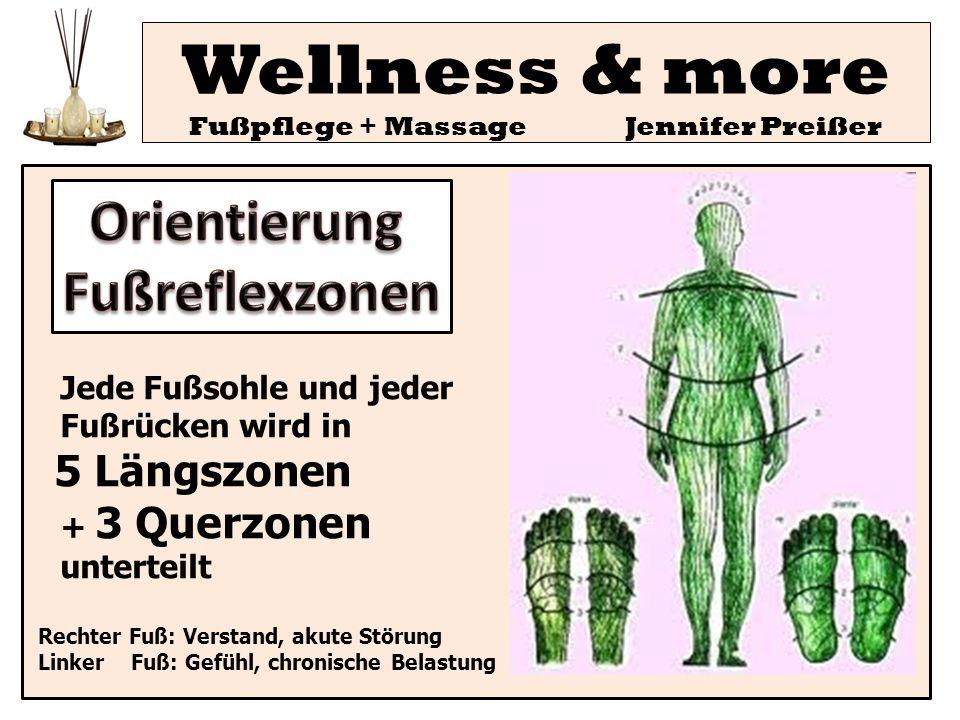 Jede Fußsohle und jeder Fußrücken wird in 5 Längszonen + 3 Querzonen unterteilt Rechter Fuß: Verstand, akute Störung Linker Fuß: Gefühl, chronische Be