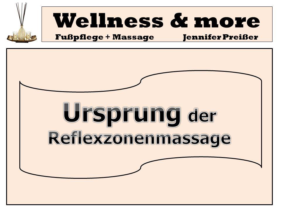 Wellness & more Fußpflege + Massage Jennifer Preißer Fazit: Wirklich handfeste Beweise - unter wissenschaftlichen Bedingungen abrufbar und empirisch belegbar, über die Wirksamkeit der Reflexzonenbehandlung liegen (noch) nicht vor.