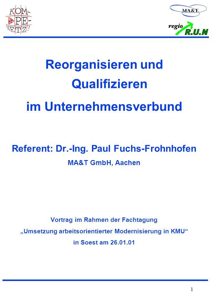 1 Reorganisieren und Qualifizieren im Unternehmensverbund Referent: Dr.-Ing.