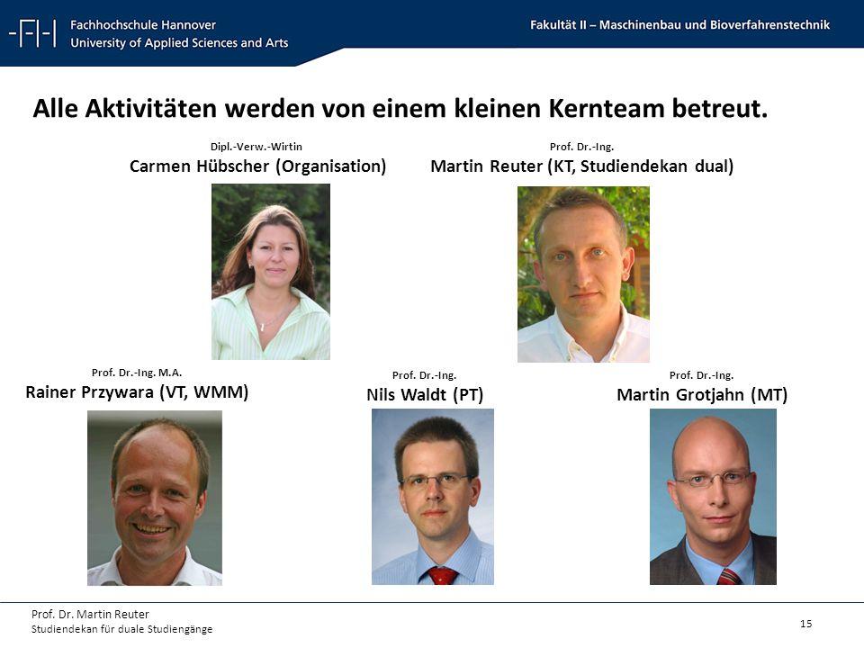 15 Prof. Dr. Martin Reuter Studiendekan für duale Studiengänge Alle Aktivitäten werden von einem kleinen Kernteam betreut. Dipl.-Verw.-Wirtin Carmen H