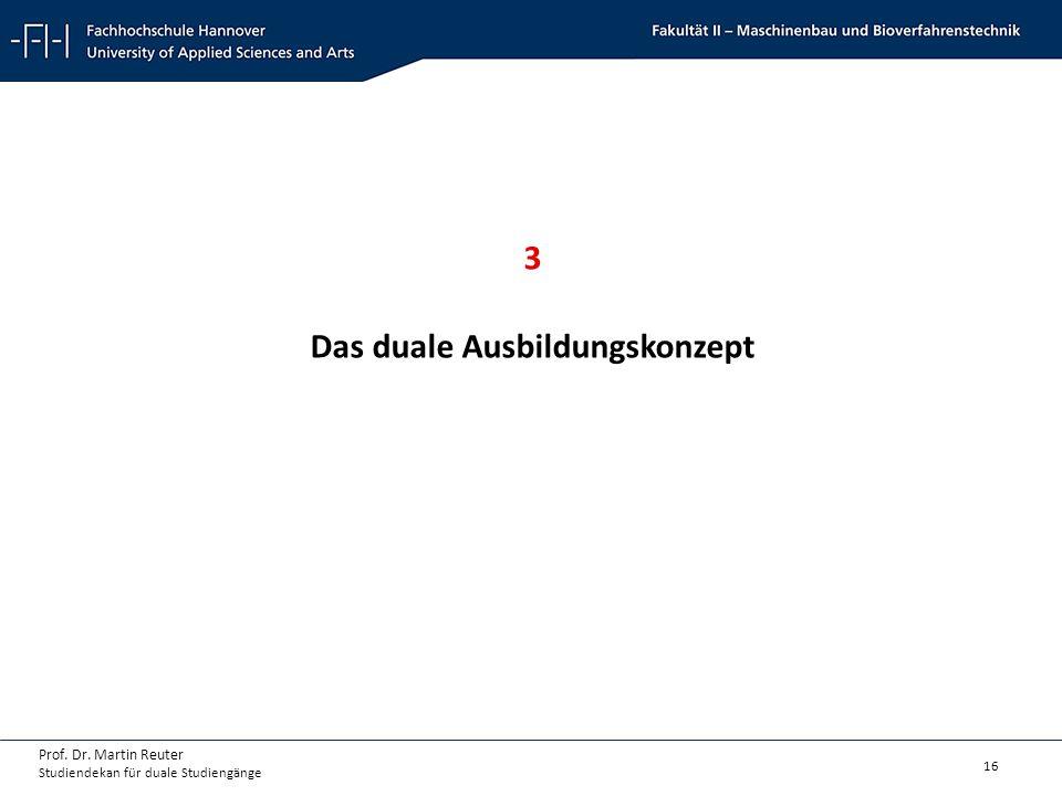 16 Prof. Dr. Martin Reuter Studiendekan für duale Studiengänge 3 Das duale Ausbildungskonzept