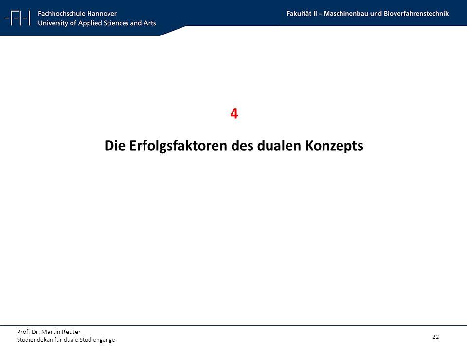 22 Prof. Dr. Martin Reuter Studiendekan für duale Studiengänge 4 Die Erfolgsfaktoren des dualen Konzepts