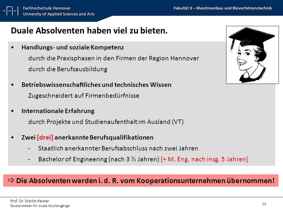 23 Prof. Dr. Martin Reuter Studiendekan für duale Studiengänge Handlungs- und soziale Kompetenz durch die Praxisphasen in den Firmen der Region Hannov