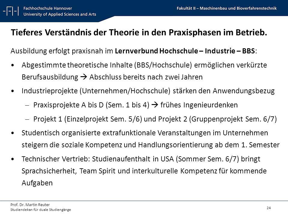 24 Prof. Dr. Martin Reuter Studiendekan für duale Studiengänge Tieferes Verständnis der Theorie in den Praxisphasen im Betrieb. Ausbildung erfolgt pra