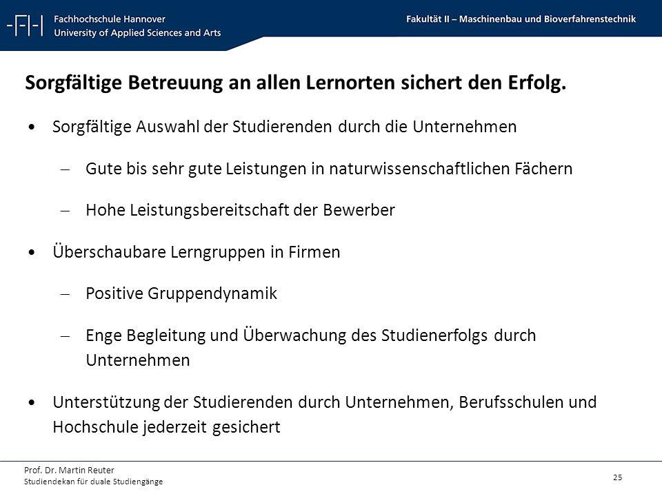 25 Prof. Dr. Martin Reuter Studiendekan für duale Studiengänge Sorgfältige Betreuung an allen Lernorten sichert den Erfolg. Sorgfältige Auswahl der St