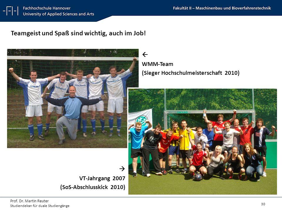 30 Prof. Dr. Martin Reuter Studiendekan für duale Studiengänge Teamgeist und Spaß sind wichtig, auch im Job!  WMM-Team (Sieger Hochschulmeisterschaft