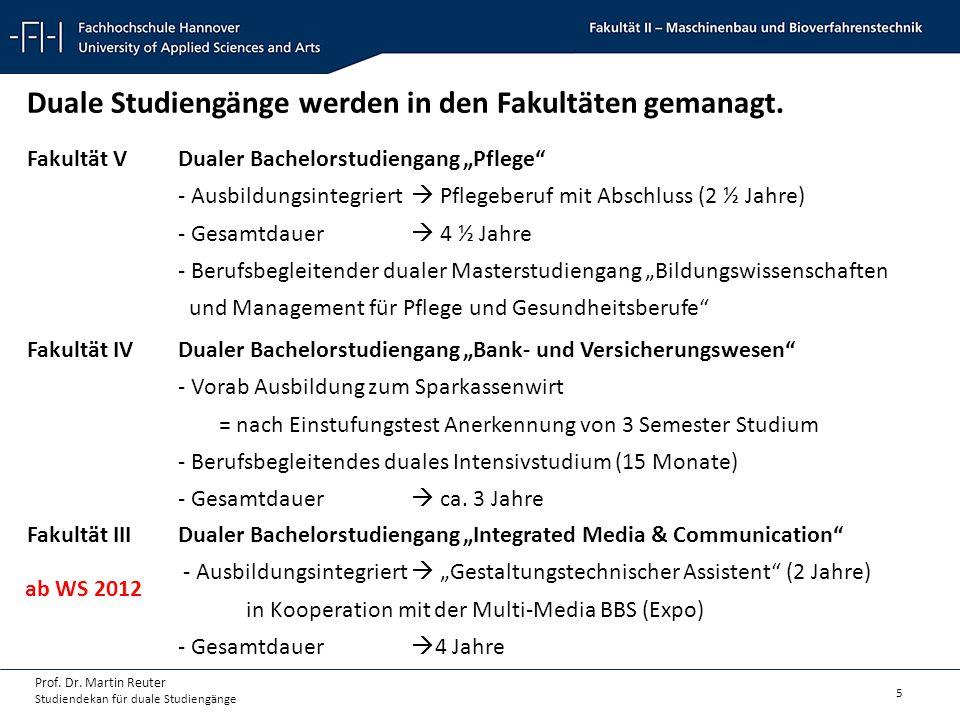 5 Prof. Dr. Martin Reuter Studiendekan für duale Studiengänge Duale Studiengänge werden in den Fakultäten gemanagt. Fakultät VDualer Bachelorstudienga