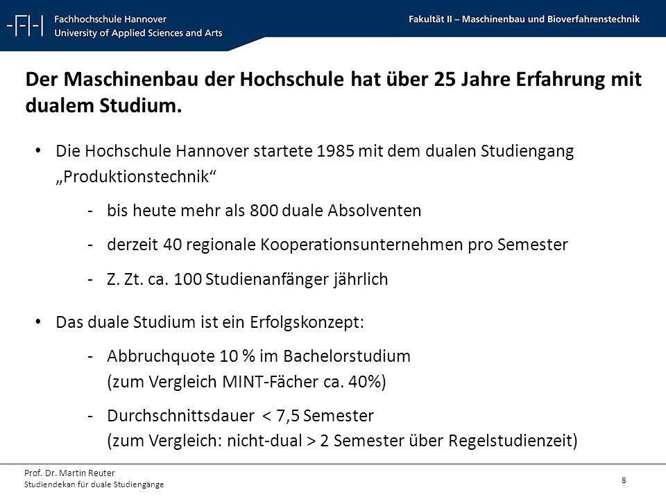 "8 Prof. Dr. Martin Reuter Studiendekan für duale Studiengänge Die Hochschule Hannover startete 1985 mit dem dualen Studiengang ""Produktionstechnik"" -b"