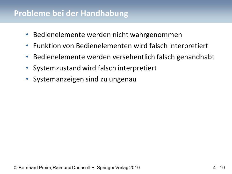 © Bernhard Preim, Raimund Dachselt  Springer Verlag 2010 Bedienelemente werden nicht wahrgenommen Funktion von Bedienelementen wird falsch interpretiert Bedienelemente werden versehentlich falsch gehandhabt Systemzustand wird falsch interpretiert Systemanzeigen sind zu ungenau Probleme bei der Handhabung 4 - 10