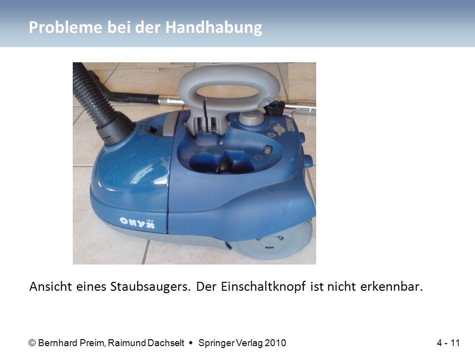 © Bernhard Preim, Raimund Dachselt  Springer Verlag 2010 Ansicht eines Staubsaugers. Der Einschaltknopf ist nicht erkennbar. Probleme bei der Handhab