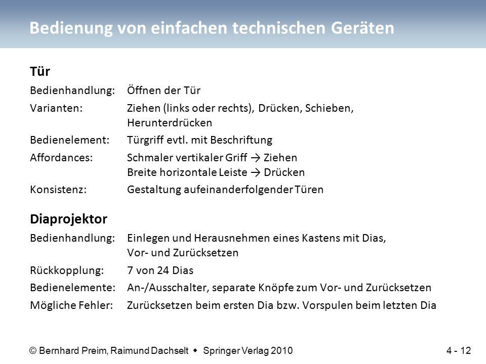 © Bernhard Preim, Raimund Dachselt  Springer Verlag 2010 Tür Bedienhandlung: Öffnen der Tür Varianten: Ziehen (links oder rechts), Drücken, Schieben, Herunterdrücken Bedienelement: Türgriff evtl.