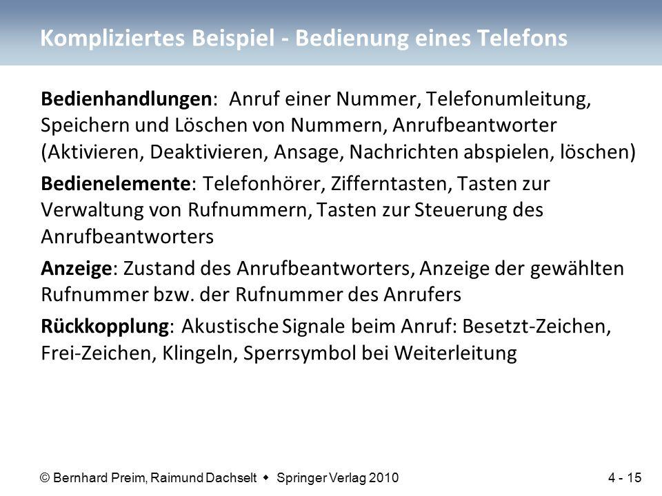 © Bernhard Preim, Raimund Dachselt  Springer Verlag 2010 Bedienhandlungen: Anruf einer Nummer, Telefonumleitung, Speichern und Löschen von Nummern, A