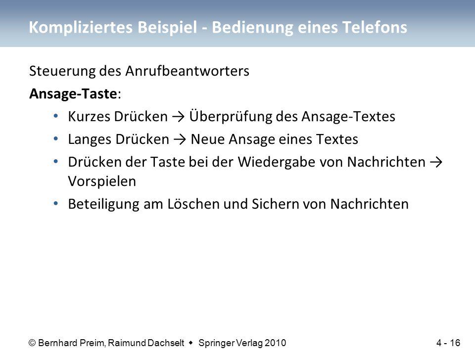 © Bernhard Preim, Raimund Dachselt  Springer Verlag 2010 Steuerung des Anrufbeantworters Ansage-Taste: Kurzes Drücken → Überprüfung des Ansage-Textes