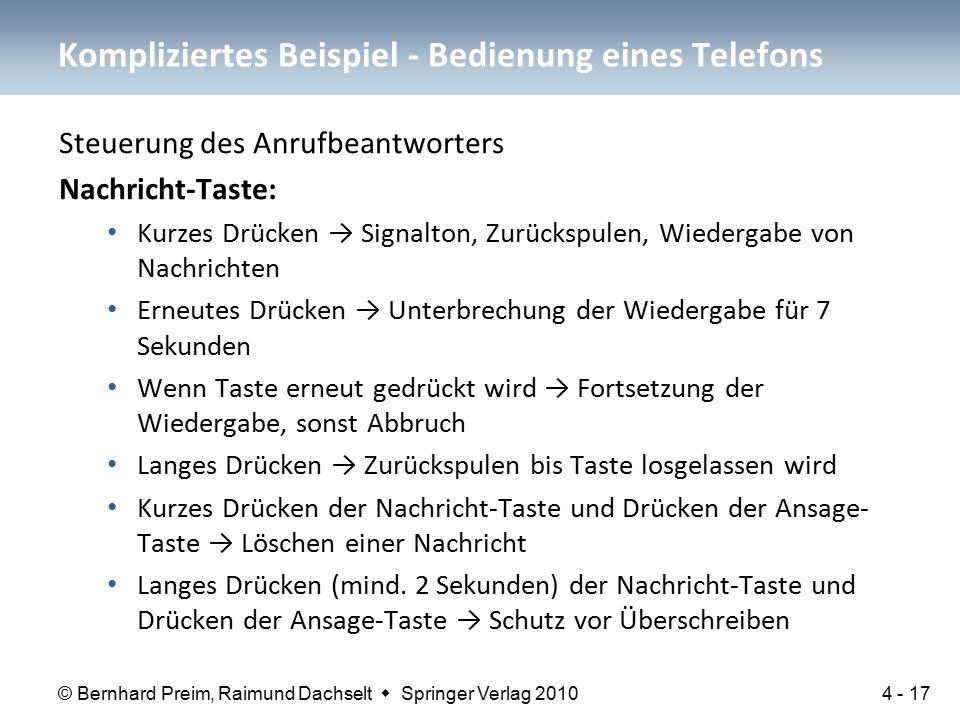 © Bernhard Preim, Raimund Dachselt  Springer Verlag 2010 Steuerung des Anrufbeantworters Nachricht-Taste: Kurzes Drücken → Signalton, Zurückspulen, W