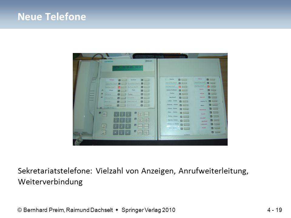 © Bernhard Preim, Raimund Dachselt  Springer Verlag 2010 Sekretariatstelefone: Vielzahl von Anzeigen, Anrufweiterleitung, Weiterverbindung Neue Telef