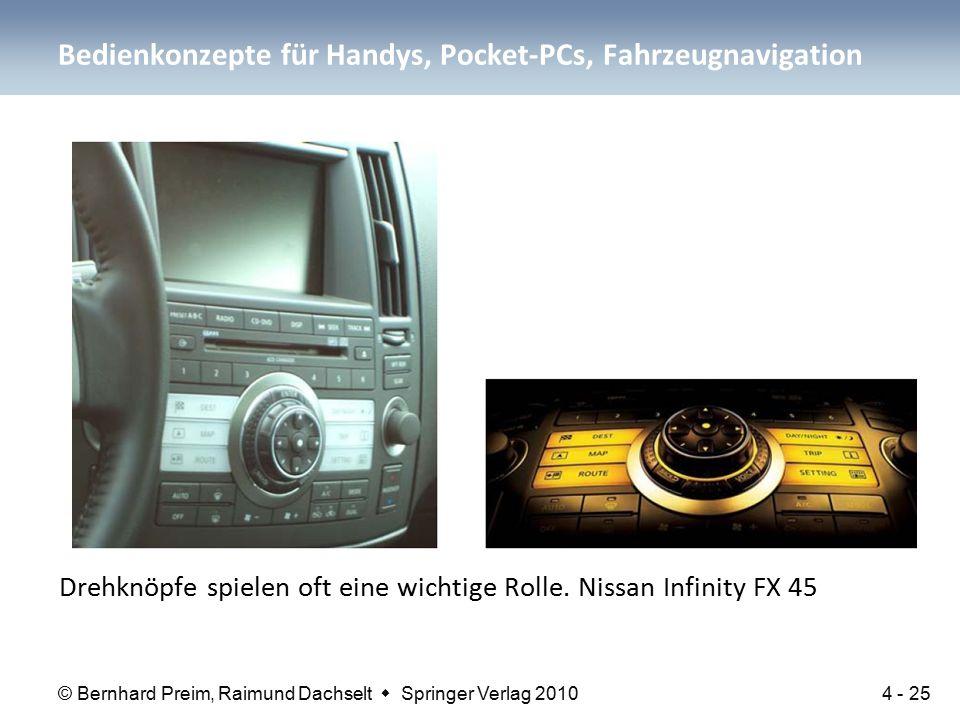 © Bernhard Preim, Raimund Dachselt  Springer Verlag 2010 Drehknöpfe spielen oft eine wichtige Rolle. Nissan Infinity FX 45 Bedienkonzepte für Handys,
