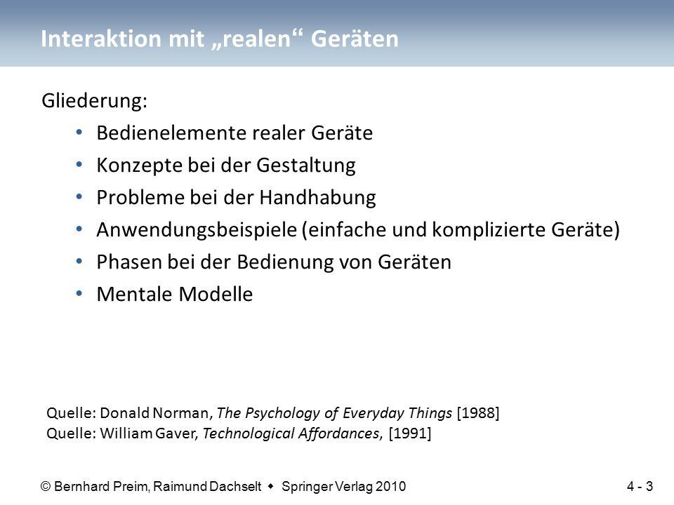 © Bernhard Preim, Raimund Dachselt  Springer Verlag 2010 Gliederung: Bedienelemente realer Geräte Konzepte bei der Gestaltung Probleme bei der Handha