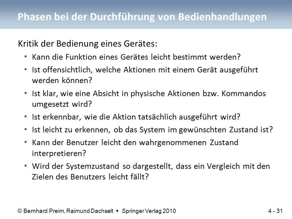 © Bernhard Preim, Raimund Dachselt  Springer Verlag 2010 Kritik der Bedienung eines Gerätes: Kann die Funktion eines Gerätes leicht bestimmt werden.