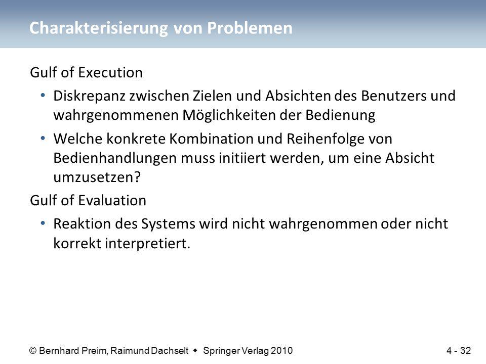 © Bernhard Preim, Raimund Dachselt  Springer Verlag 2010 Gulf of Execution Diskrepanz zwischen Zielen und Absichten des Benutzers und wahrgenommenen