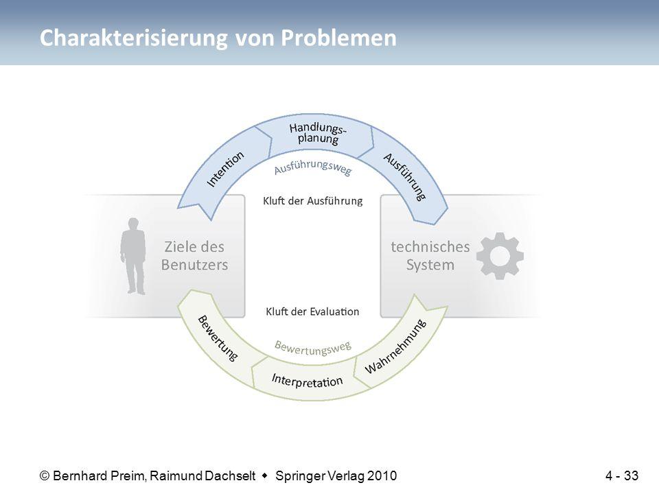 © Bernhard Preim, Raimund Dachselt  Springer Verlag 2010 Charakterisierung von Problemen 4 - 33