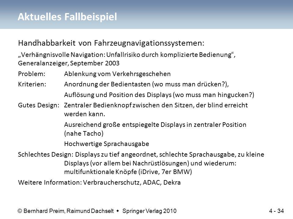 """© Bernhard Preim, Raimund Dachselt  Springer Verlag 2010 Handhabbarkeit von Fahrzeugnavigationssystemen: """"Verhängnisvolle Navigation: Unfallrisiko du"""