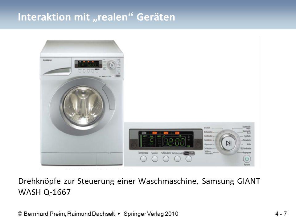 """© Bernhard Preim, Raimund Dachselt  Springer Verlag 2010 Drehknöpfe zur Steuerung einer Waschmaschine, Samsung GIANT WASH Q-1667 Interaktion mit """"realen Geräten 4 - 7"""