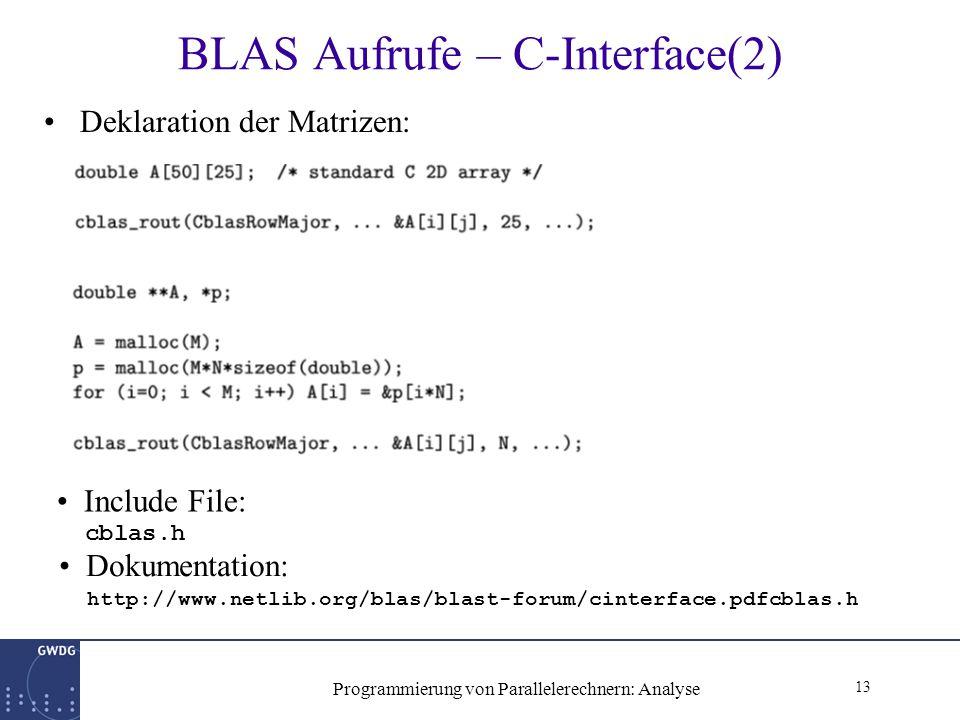 13 Programmierung von Parallelerechnern: Analyse BLAS Aufrufe – C-Interface(2) Deklaration der Matrizen: Include File: cblas.h Dokumentation: http://www.netlib.org/blas/blast-forum/cinterface.pdfcblas.h
