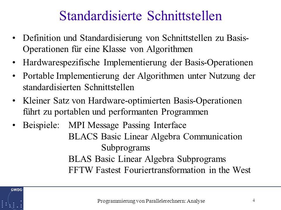 4 Programmierung von Parallelerechnern: Analyse Standardisierte Schnittstellen Definition und Standardisierung von Schnittstellen zu Basis- Operationen für eine Klasse von Algorithmen Hardwarespezifische Implementierung der Basis-Operationen Portable Implementierung der Algorithmen unter Nutzung der standardisierten Schnittstellen Kleiner Satz von Hardware-optimierten Basis-Operationen führt zu portablen und performanten Programmen Beispiele: MPI Message Passing Interface BLACS Basic Linear Algebra Communication Subprograms BLAS Basic Linear Algebra Subprograms FFTW Fastest Fouriertransformation in the West