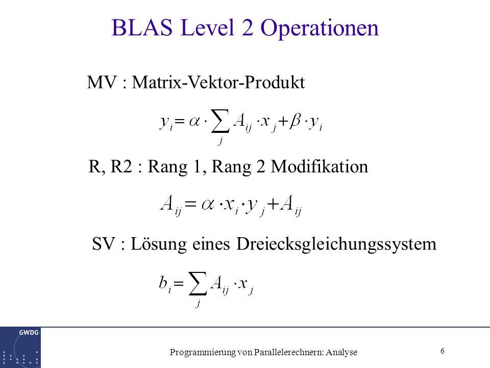 17 Programmierung von Parallelerechnern: Analyse BLACS Hilfsroutinen BLACS_PINFO(myip,np) np: Gesamtzahl verfügbarer Prozessoren myip: Prozessornummer des ausführenden Prozessors BLACS_GRIDINIT(icntxt,´r´,nprow,npcol) erzeugt Kommunikationskontext icntxt mit nprow*npcol Prozessoren BLACS_GRIDINFO(icntxt,nprow,npcol,myiprow,myipcol) nprow, npcol: verfügbare Prozessor-Topologie myiprow,myipcol: Koordinaten des ausführenden Prozessors BLACS_GRIDEXIT(icntxt) gibt den Kommunikationskontext icntxt frei