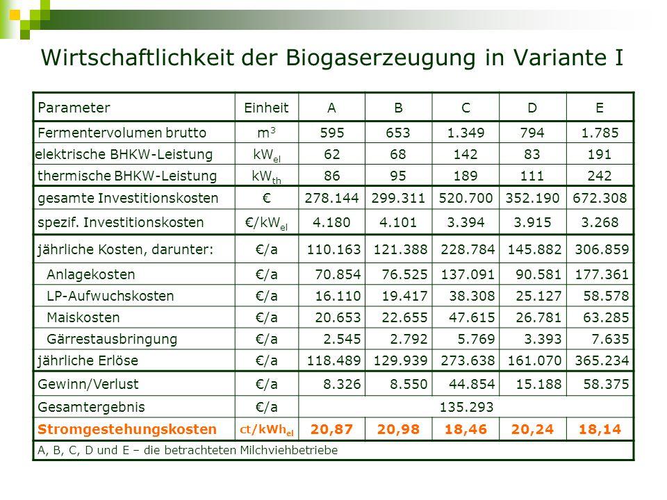 Variante II – Biogasnetz (Schema) Vergärung von Gülle:Landschaftspflegeaufwuchs:Mais = 80:10:10 Lieferung des erzeugten Biogases mittels Biogasnetz nach Schwedt A B D C E 1 2 1 Wärme Strom 1Biogasnetz Gesamtlänge 26 km Sicherheitszuschlag 10% 2Zentrales BHKW Schwedt
