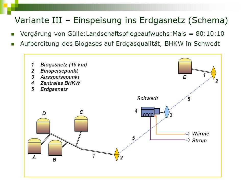 Wirtschaftlichkeit der Biogaserzeugung in Variante III ParameterEinheitABCDE Biogasproduktion, Praxism 3 /h25,528,057,233,574,7 Biogas zur Aufbereitungm 3 /h21,723,848,628,563,5 Biogas zur Aufbereitungm 3 /h122,563,5 Investitionskosten BGA€203.610218.914367.100256.354471.104 jährliche Kosten BGA€/a82.51991.444173.153110.271234.548 darunter Anlagekosten€/a43.21046.58081.46054.970105.050 jährliche Kosten BGA€/a691.935 A, B, C, D und E – die betrachteten Milchviehbetriebe