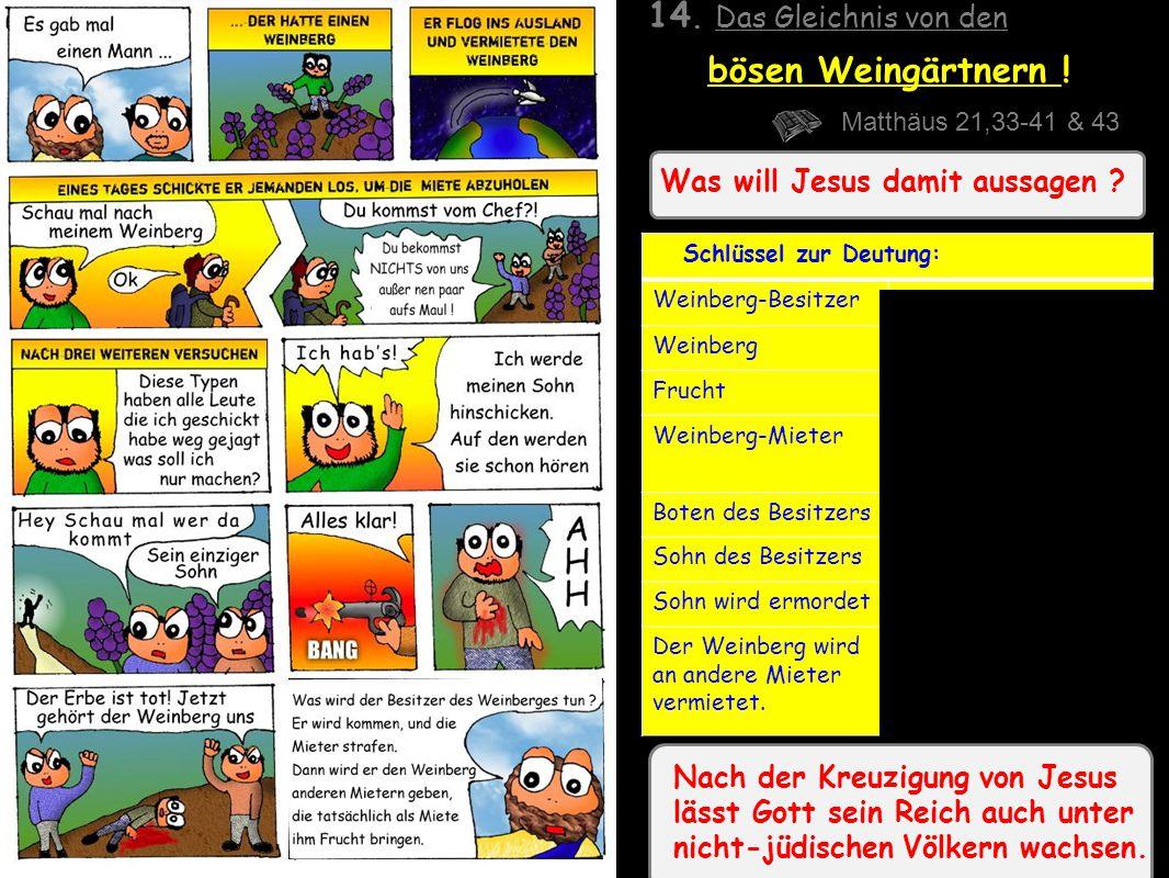 Was will Jesus damit aussagen .14. Das Gleichnis von den bösen Weingärtnern .