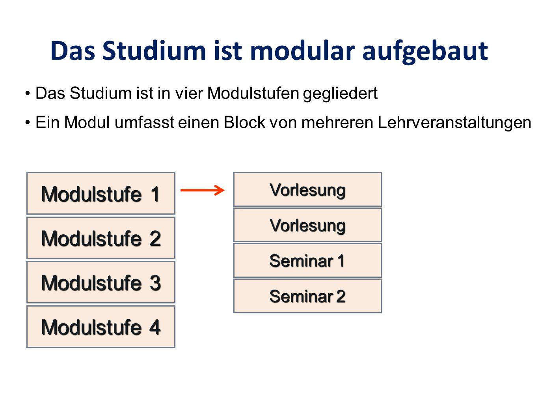 Das Studium ist modular aufgebaut VorlesungVorlesung VorlesungVorlesung Seminar 1 Modulstufe 1 Das Studium ist in vier Modulstufen gegliedert Ein Modul umfasst einen Block von mehreren Lehrveranstaltungen Modulstufe 2 Modulstufe 3 Modulstufe 4 Seminar 2