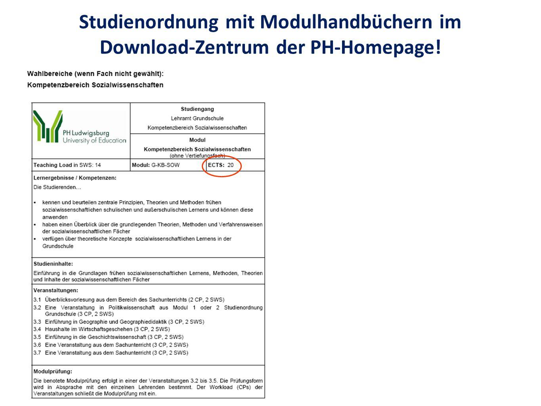 Studienordnung mit Modulhandbüchern im Download-Zentrum der PH-Homepage!