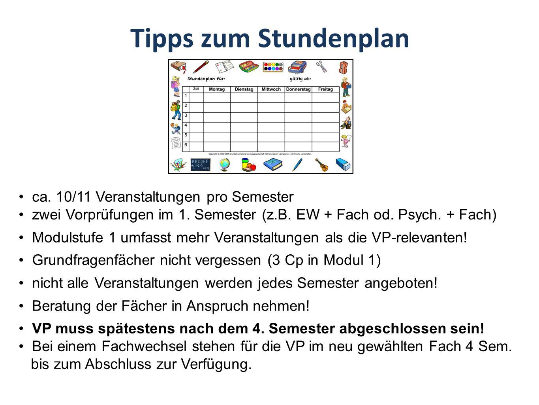 Tipps zum Stundenplan ca. 10/11 Veranstaltungen pro Semester zwei Vorprüfungen im 1.