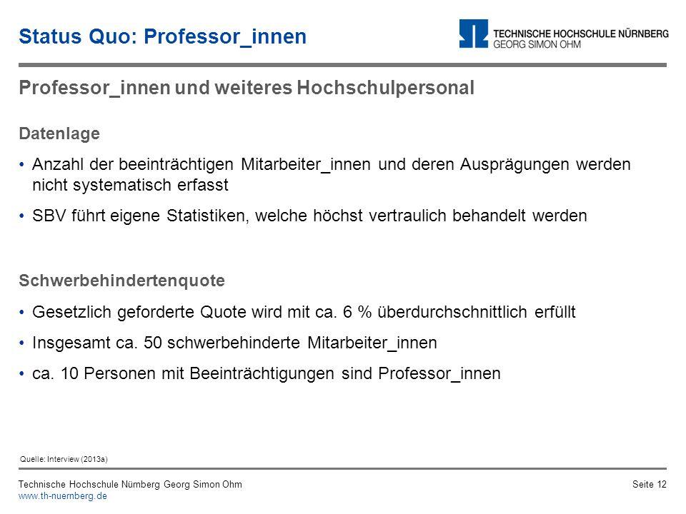 Technische Hochschule Nürnberg Georg Simon Ohm www.th-nuernberg.de Seite 11 Gefühl der Abgrenzung Unsicherheit, Voreingenommenheit, mangelhafte Sensib
