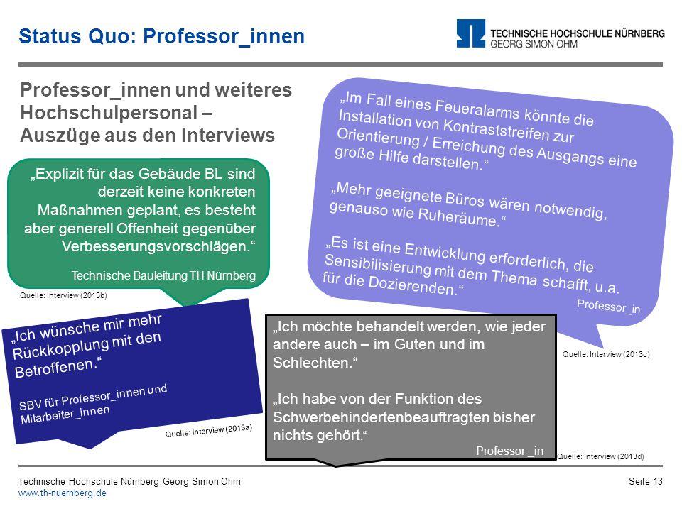 Status Quo: Professor_innen Technische Hochschule Nürnberg Georg Simon Ohm www.th-nuernberg.de Seite 12 Professor_innen und weiteres Hochschulpersonal