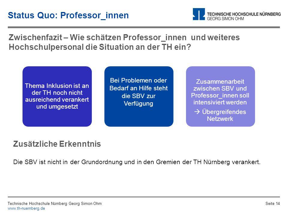 Status Quo: Professor_innen Technische Hochschule Nürnberg Georg Simon Ohm www.th-nuernberg.de Seite 13 Quelle: Interview (2013c) Quelle: Interview (2