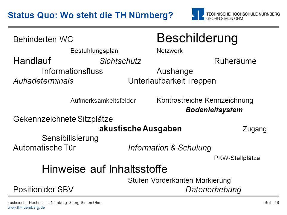 Eindrücke aus der Begehung des Bestellbaus Bahnhofstraße Technische Hochschule Nürnberg Georg Simon Ohm www.th-nuernberg.de Seite 17 Status Quo: Bauliche Gegebenheiten