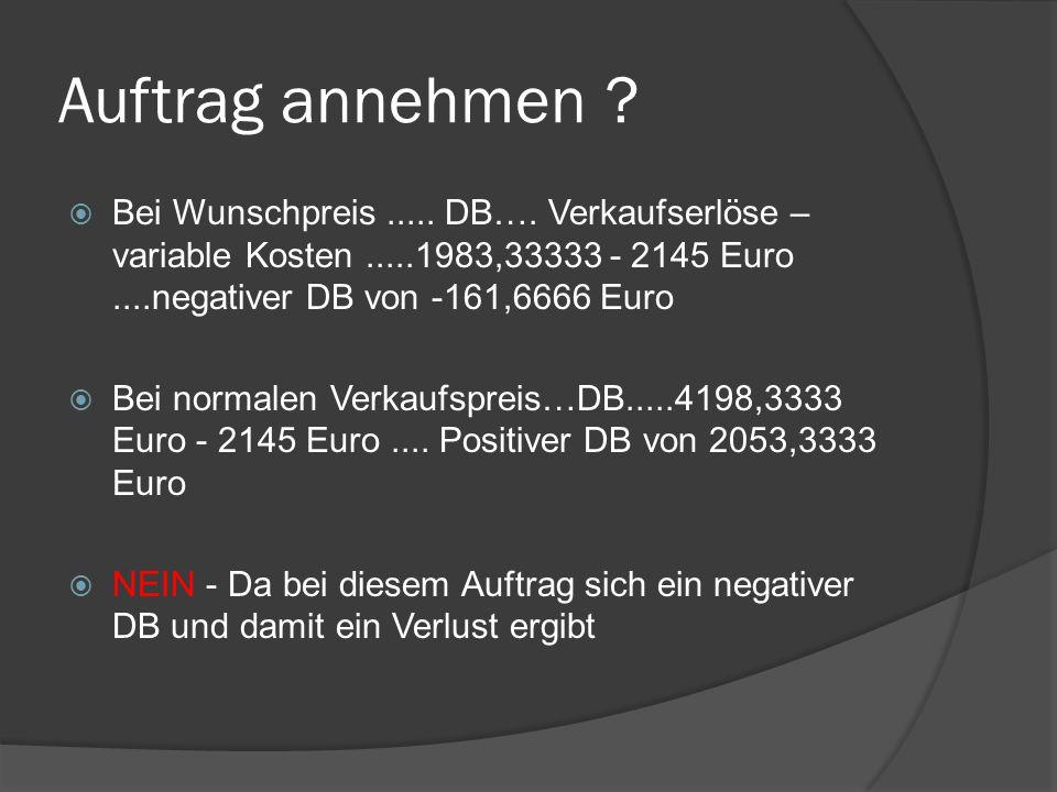 Auftrag annehmen .  Bei Wunschpreis..... DB….