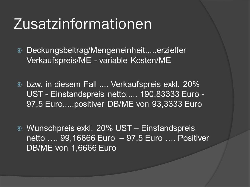Break-Even Point  Break-Even Point.....Fixe Kosten/Deckungsbeitrag(ME)....