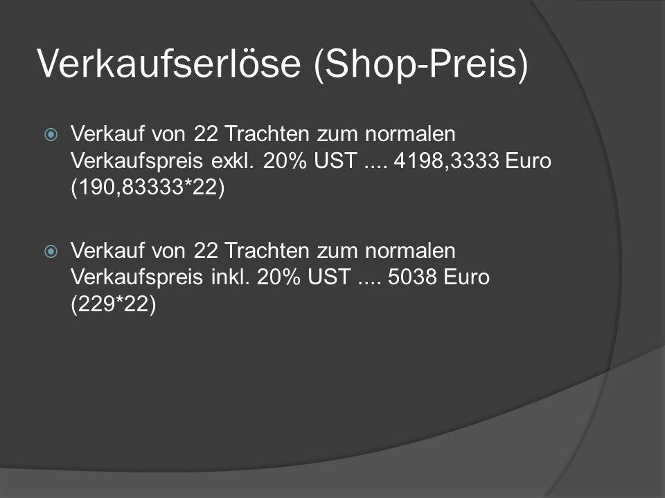 Verkaufserlöse (Shop-Preis)  Verkauf von 22 Trachten zum normalen Verkaufspreis exkl.