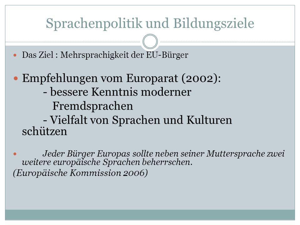 Sprachenpolitik und Bildungsziele Das Ziel : Mehrsprachigkeit der EU-Bürger Empfehlungen vom Europarat (2002): - bessere Kenntnis moderner Fremdsprach