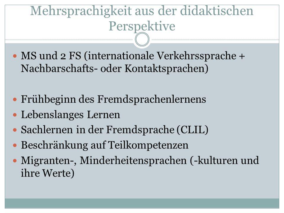 Mehrsprachigkeit aus der didaktischen Perspektive MS und 2 FS (internationale Verkehrssprache + Nachbarschafts- oder Kontaktsprachen) Frühbeginn des F