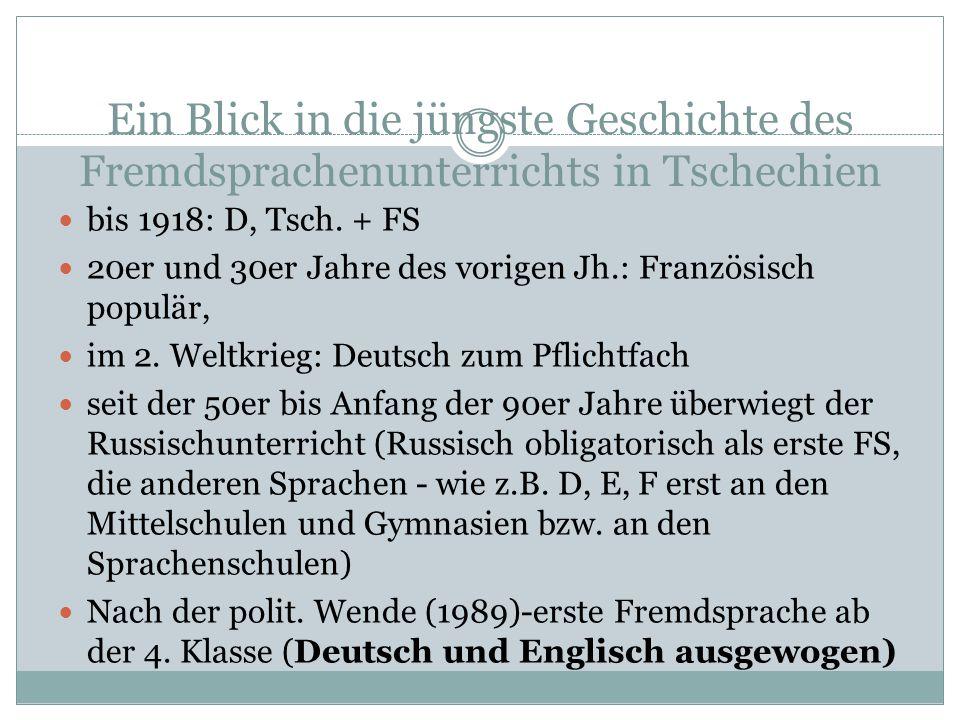 Ein Blick in die jüngste Geschichte des Fremdsprachenunterrichts in Tschechien bis 1918: D, Tsch. + FS 20er und 30er Jahre des vorigen Jh.: Französisc