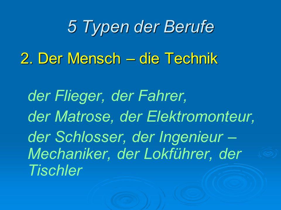 5 Typen der Berufe 2. Der Mensch – die Technik der Flieger, der Fahrer, der Matrose, der Elektromonteur, der Schlosser, der Ingenieur – Mechaniker, de
