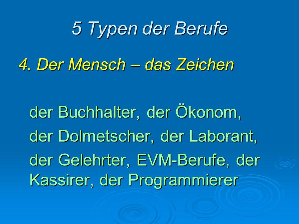 5 Typen der Berufe 4. Der Mensch – das Zeichen der Buchhalter, der Ökonom, der Dolmetscher, der Laborant, der Gelehrter, EVM-Berufe, der Kassirer, der